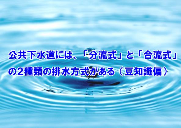 素公共下水道には、「分流式」と「合流式」の2種類の排水方式がある