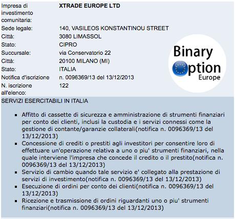 xtrade europe ltd autorizzato consob