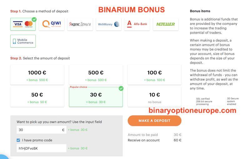 binarium bonus come funziona