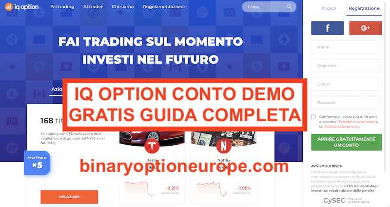 iq option conto demo gratis forex cfd