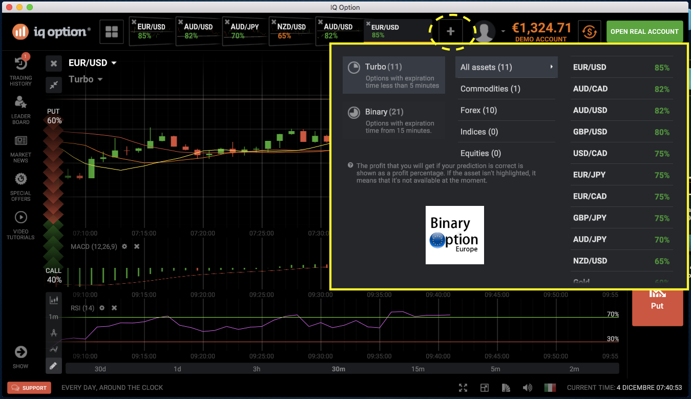 binary options play account