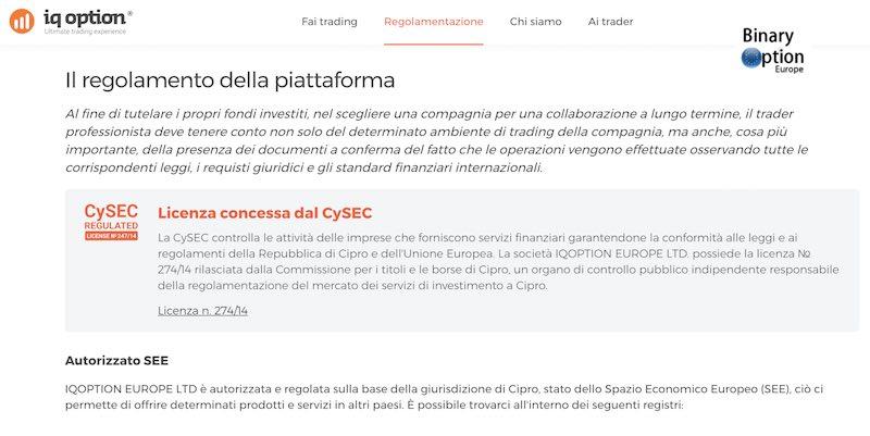 iq option regoalentazione italia consob