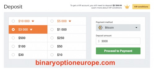 come depositare bitcoin in IQ Option guida completa