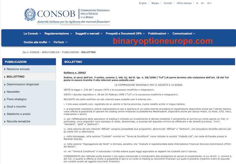 codexfx consob