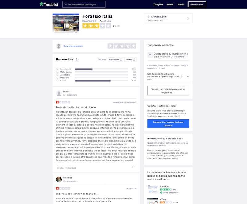 fortissio recensioni clienti trustpilot