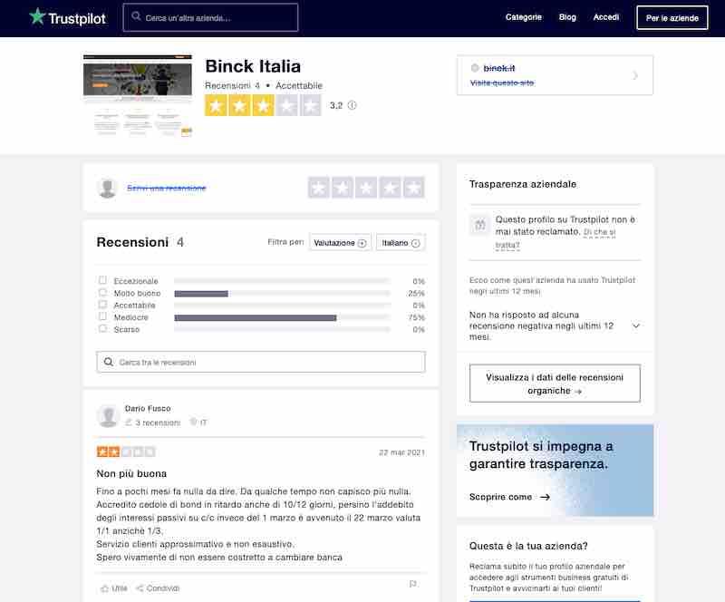 binck bank italia trustpilot recensioni negative