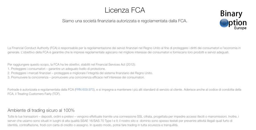 Fortrade Licenza FCA