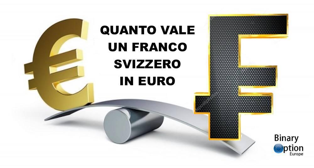 quanto vale un franco svizzero in euro oggi