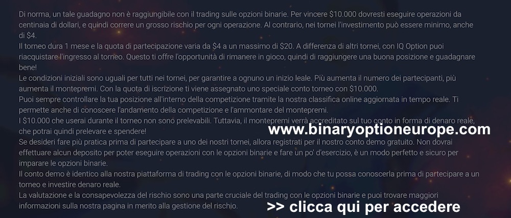 Torneo opzioni binarie gratis iq option 2016
