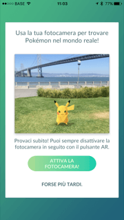 pokemon go attiva la fotocamera