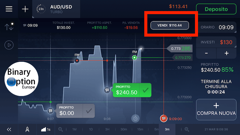 iq option app chiusura anticipata vendere