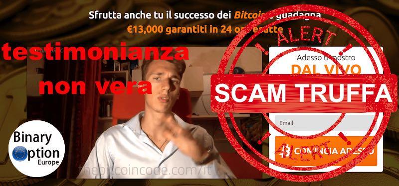 Bitcoin code testimonial truffa 2