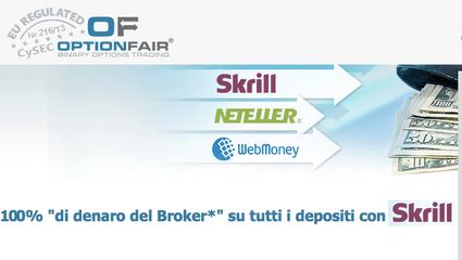 Promozione Skrill Optionfair binaryoptioneurope opzioni binarie 100% bonus gratis