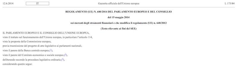 Estratto REGOLAMENTO (UE) N. 600/2014