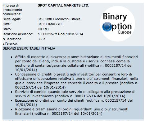 milanotrader licenza CONSOB italia broker opzioni binarie