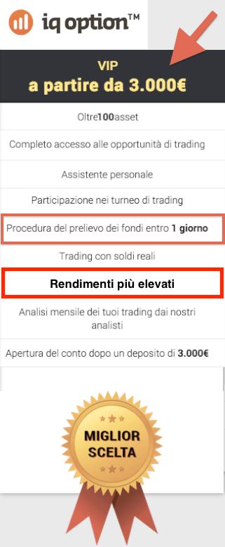 Conto vip e prelievi in 24 ore con iqoption.com con le opzioni binarie