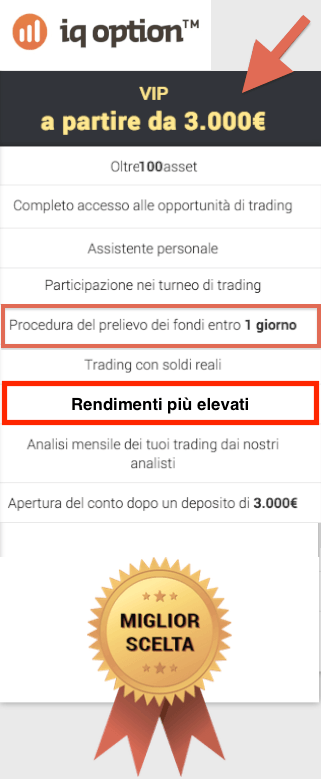 Conto vip  prelievi in 24 ore  iqoption.com  opzioni binarie