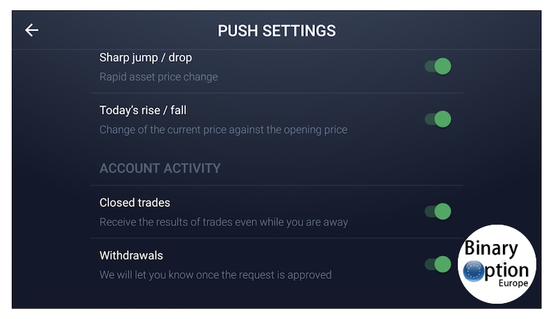 iq option app notifiche push