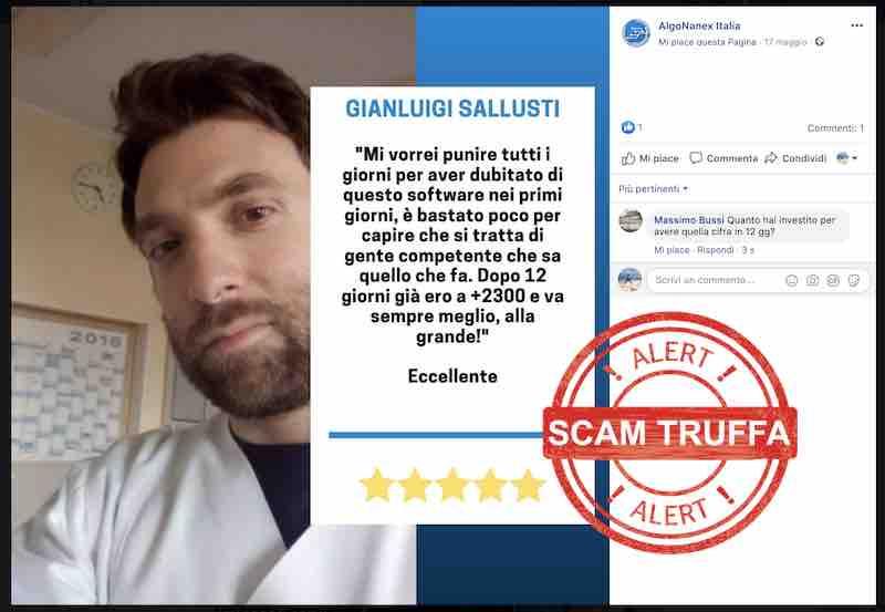 gianluigi sallusti falso recensione truffa algonanex