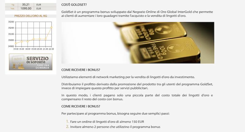 global intergold come funziona legale truffa