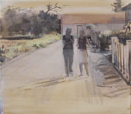 """""""Gespräch"""", Acryl auf Leinwand, 70 x 70 cm, 2007"""