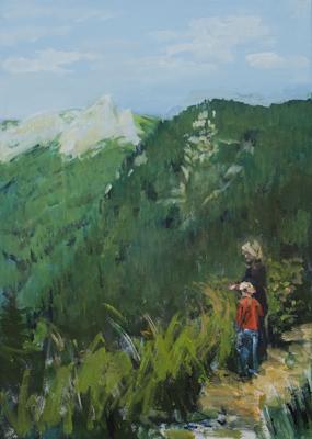 """""""Geborgen (Hochschwabgebiet,Stmk)"""", Acryl, 70x50cm, 2009"""