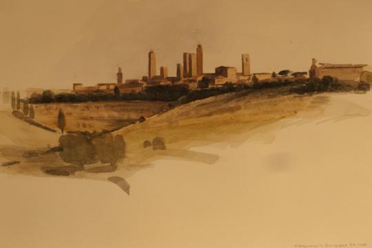 """""""San Gimignano (Toscana)"""", Aquarell, 1988"""