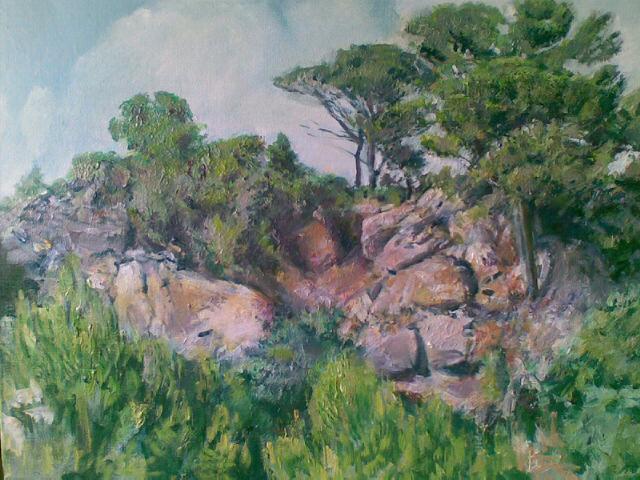 """Pinien auf Fels (Bei Valldemossa, Mallorca)"", Öl/Acryl, 80x60cm, 2009"