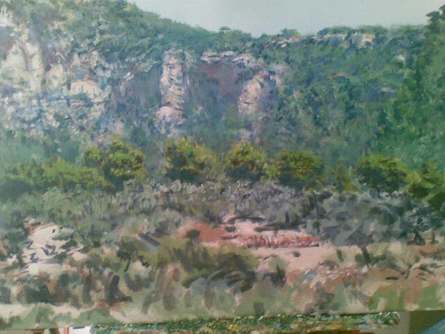 """""""Felswand (Bei Soller, Mallorca), Acryl, 100x70cm, 2011"""