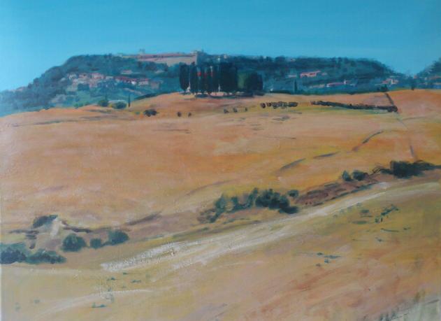 """Gehöft bei Volterra III(Toscana)"", Acryl, 80x70cm, 2014"