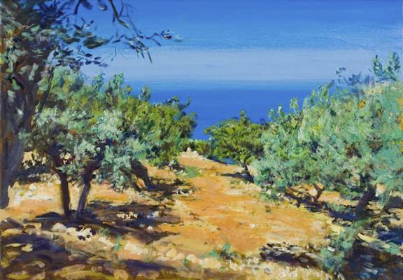 """""""Olivenhain (Steilküste bei Deia, Mallorca)"""", Acryl, 100x70cm, 2008"""