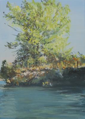 """Insel im See (Bei Münchendorf)"", Acryl, 50x70cm, 2009"