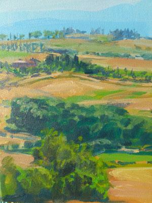 """""""Toscana, Le Crete """", Acryl, 18x24cm, 2016"""