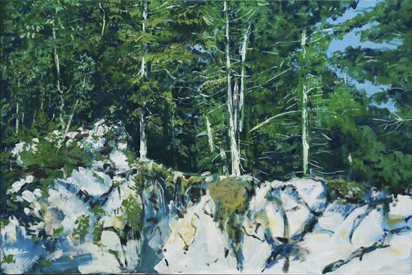 Bergender Fels ( Obersteiermark), Acryl | 80 x 120 cm | 2007