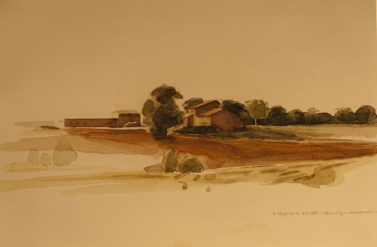 """""""Gehöft in Umbrien bei Perugia"""", Aquarell, 1984"""