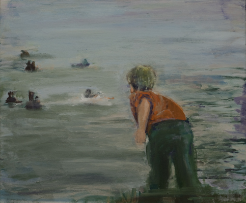 """""""Entenfüttern"""", Acryl auf Leinwand, 50x60cm, 2002"""