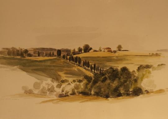 """""""Häuser bei Volterra (Toscana)"""", Aquarell, 1990"""