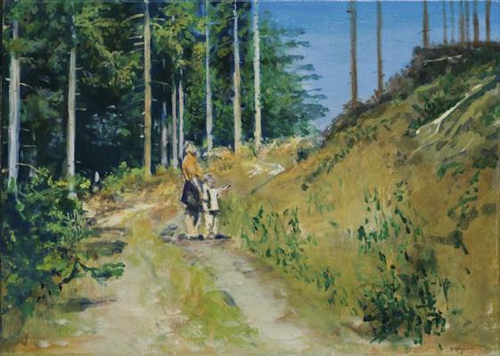 """""""Am Sattel"""", Acryl auf Leinwand, 50x70cm, 2004"""