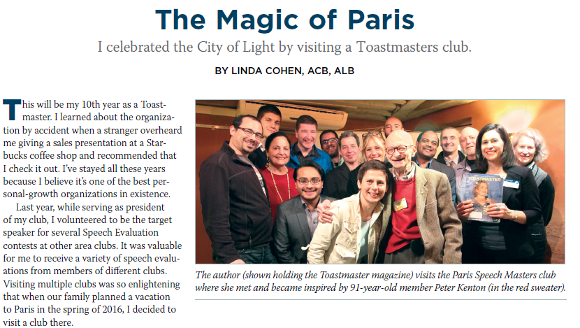 Toastmasters Paris Speech Masters Club Article in Toastmasters Magazine by Linda Cohen