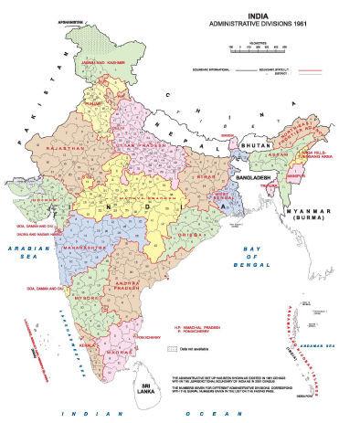 1961年当時のインドの州区分(インド内務省 ADMINISTRATIVE DIVISIONS 1872-2001よりquote)