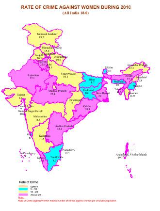 女性への犯罪の発生率マップ(Crime in India 2010 Compendium2010より引用)