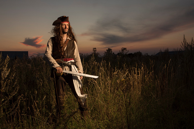 the cosplay scene in the countryside is small, this pirate is without a ship.