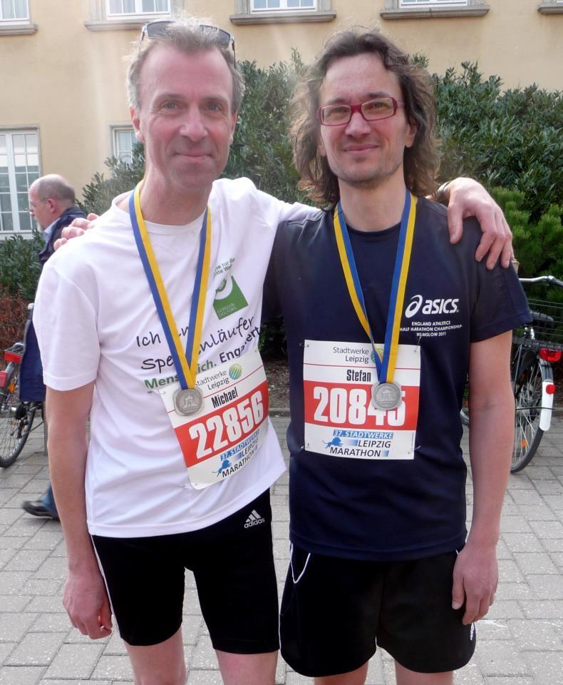 mit meinem freund stefan nach dem leipzig-halbmarathon 2013