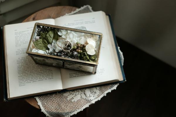 リングピロー,結婚式準備,ガラスケース,アンティーク,プリザーブドフラワー,フラワーアイテム,ナチュラル,tane's garden