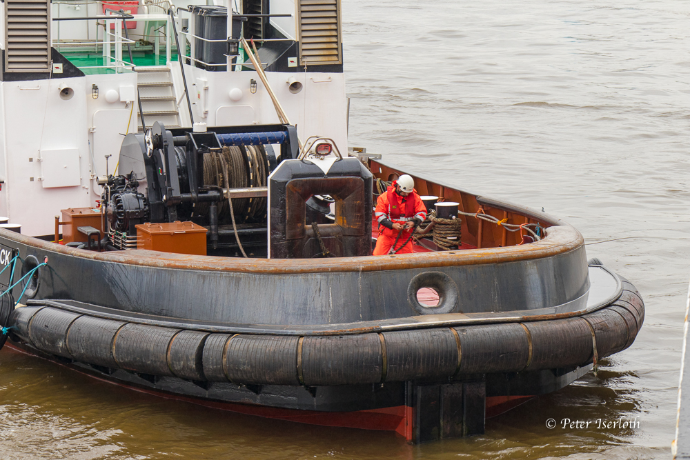 Man at work, Schlepper Hafen Hamburg, Deutschland