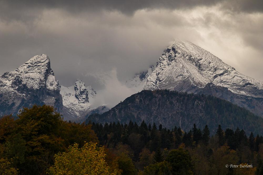 Watzmann mit Wolken, Berchtesgaden, Deutschland