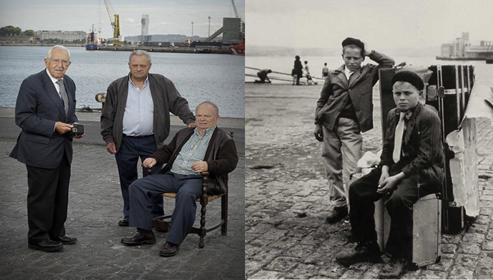 Protagonistas de las foto 55 años después junto al fotógrafo Alberto Martí. Autor: Marco Míguez. La Voz de Galicia