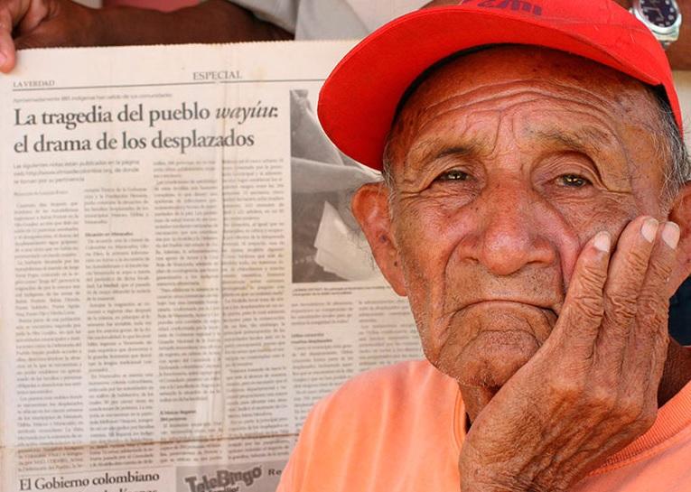 Jesús Fince Epinayú, autoridad tradicional de Portete desplazado en Maracaibo, Venezuela (2009). CNMH