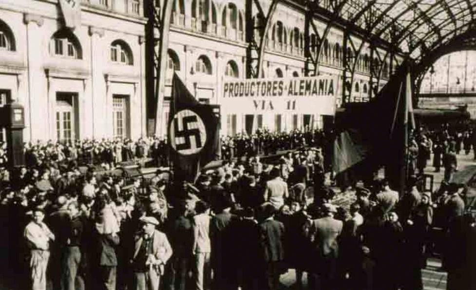 Primera expedición de seiscientos trabajadores barceloneses contratados por empresas alemanas para trabajar en el territorio del Reich. Estación de Francia (1941). Hermes Pato