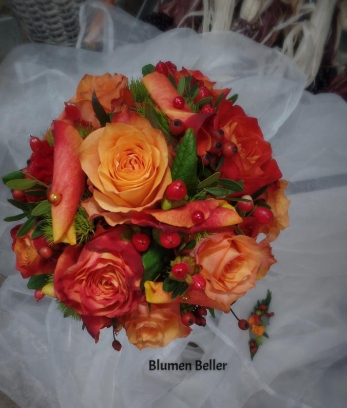 Brautstrauß orange/rot